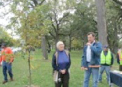 Members plant a bur oak in Lunt Park.